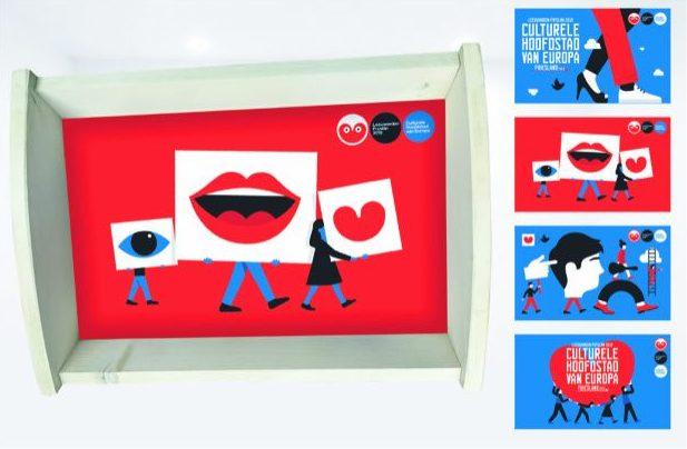 Houten dienblad met bedrukking kunst mensen